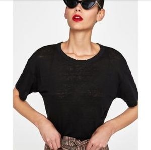 Zara Black T-shirt with rips